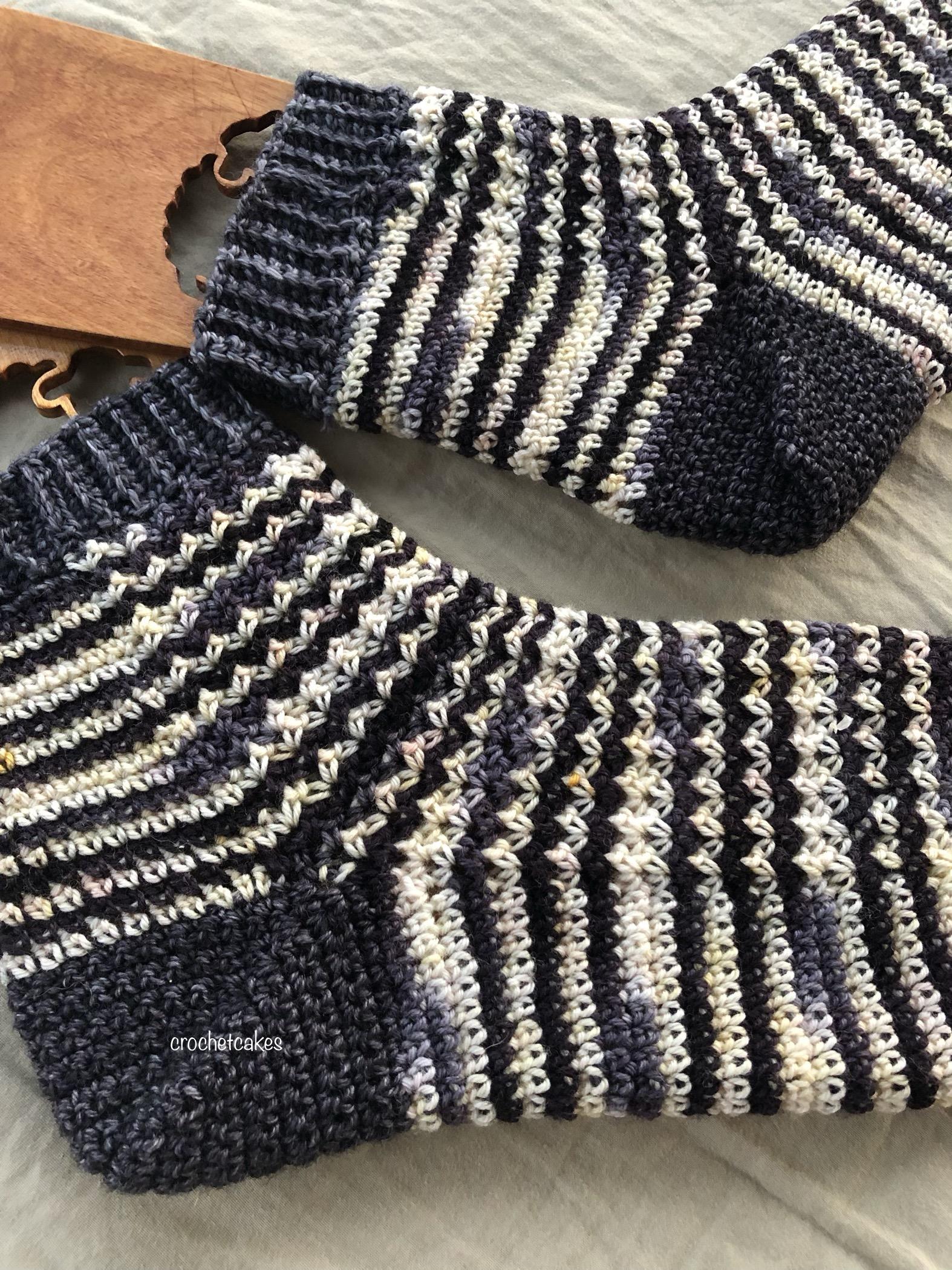 self striping crochet sock