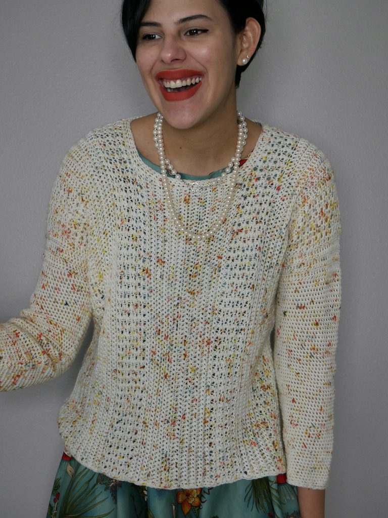 eat cake crochet sweater