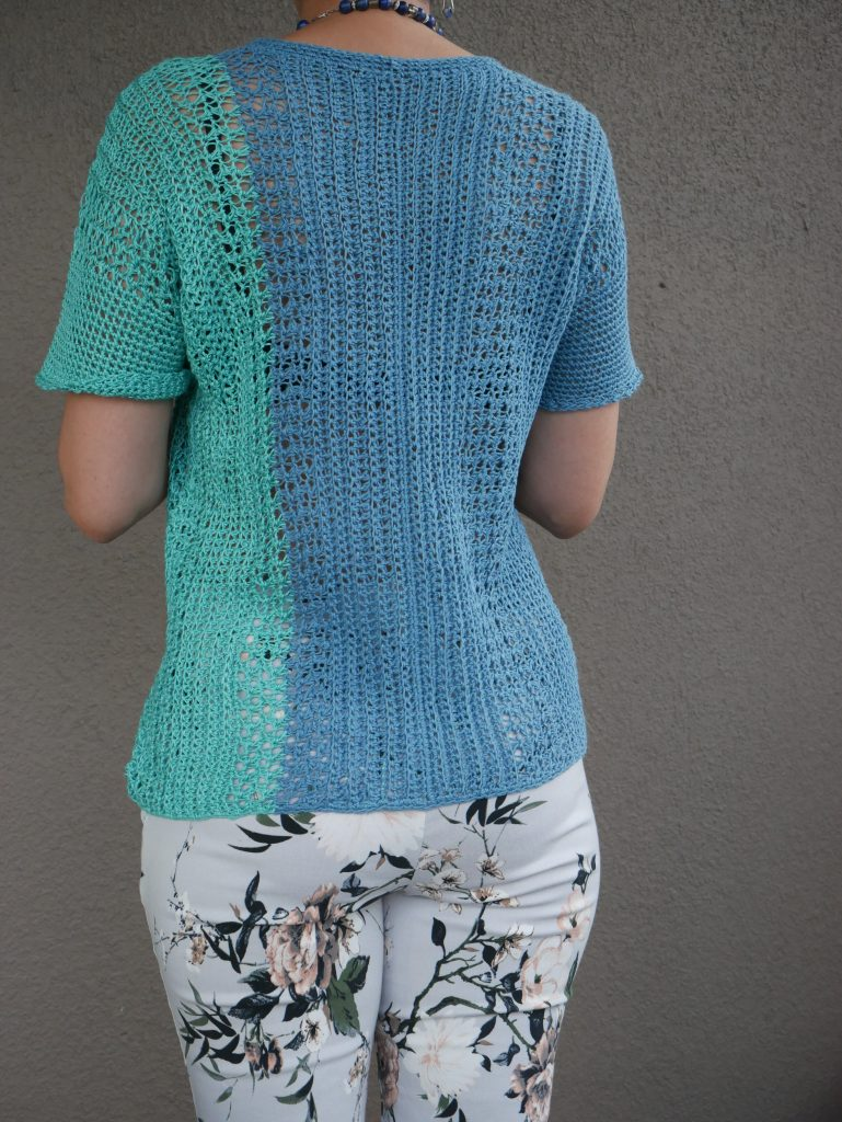 summer edition of the eat cake sweater done in linen blend yarns.