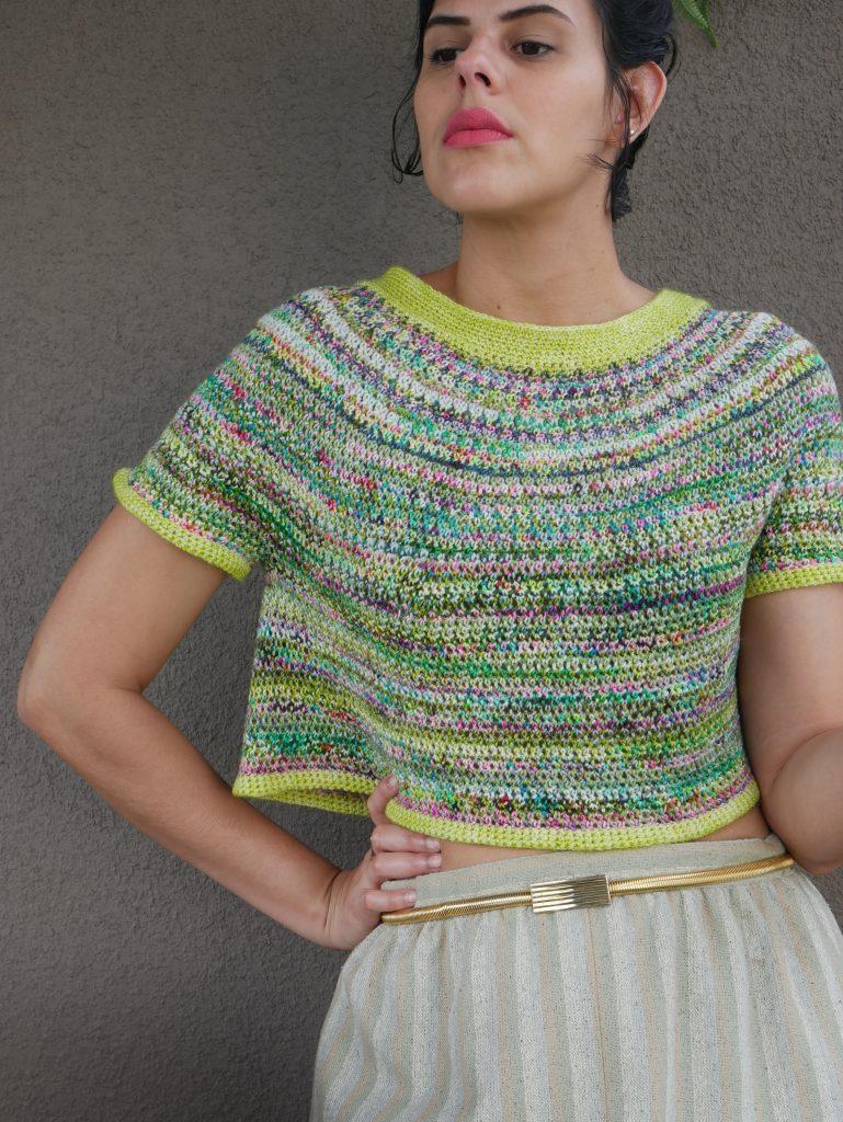 crochet colorwork, my crochet sea glass tee