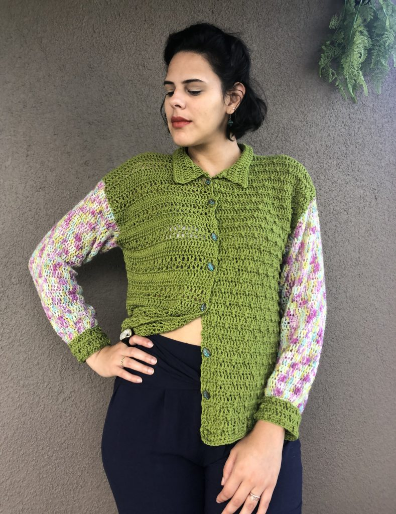 Vintage Crochet Cardigan, worn with open buttons.
