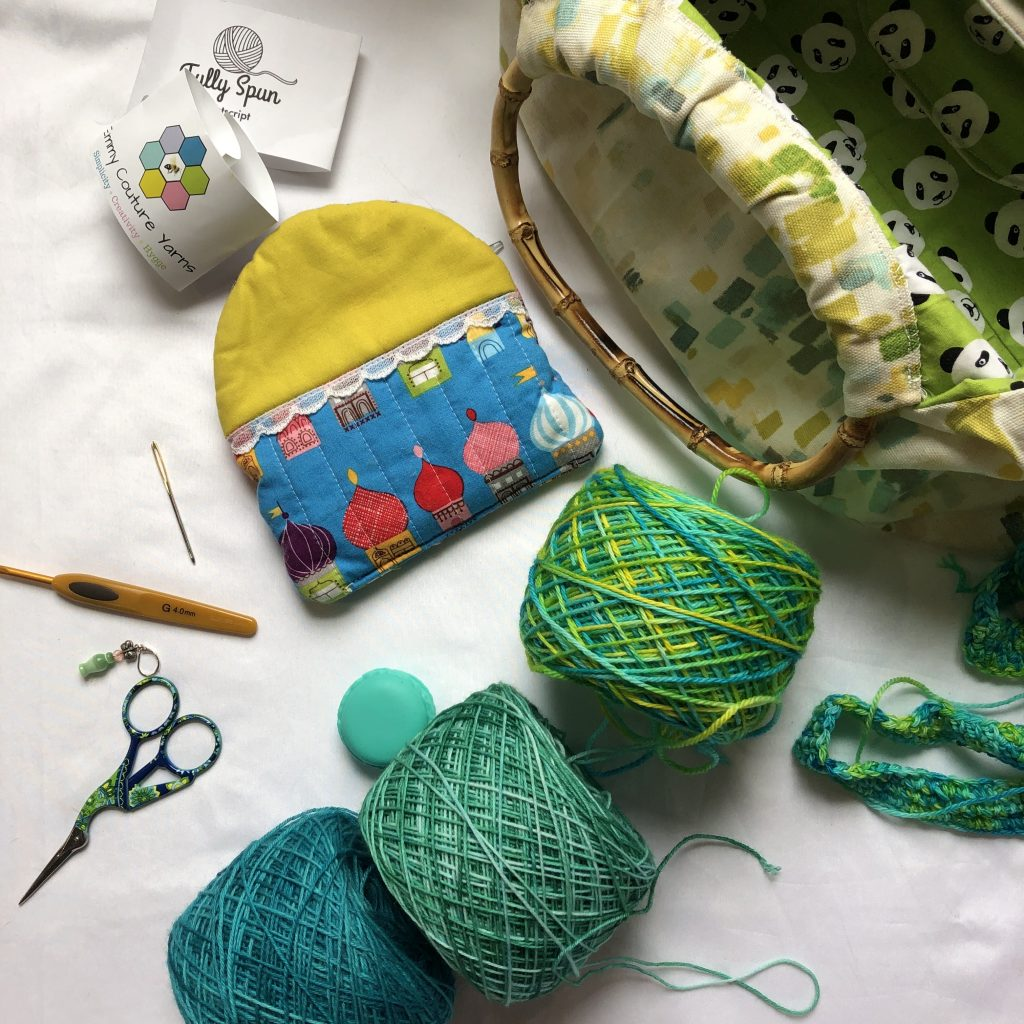 stash busting endeavors with fingering weight yarn. All green of course.